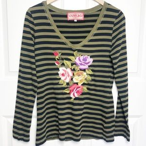 Johnny Was Stripe Embroidered Long Sleeve Tee Sz S